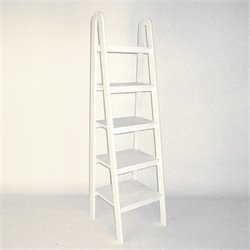 Wayborn Basswood 5 Tier Ladder Bookcase in White