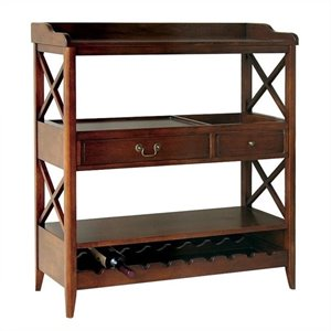 Open Storage Sideboard with Wine Rack in Brown