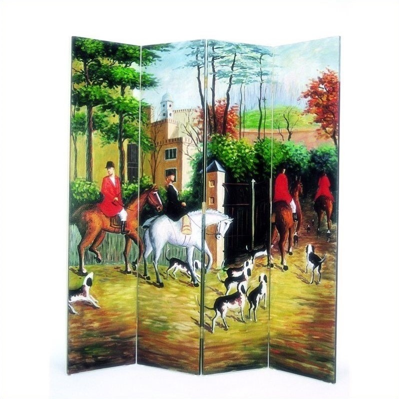 Hand Painted Hunting Scene Room Divider