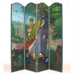 Hand Painted Peacock Room Divider
