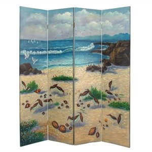 Hand Painted 4 Panel Sandpiper Room Divider