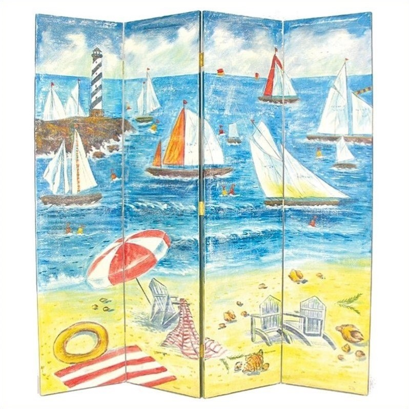 Hand Painted 4 Panel Sailboat Room Divider
