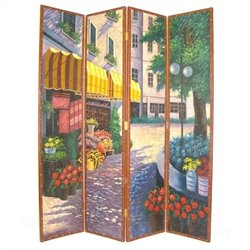 Hand Painted Floral Street Scene Room Divider