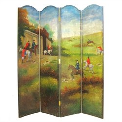 Hand Painted Hunting Game Scene Room Divider