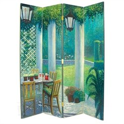Hand Painted 4 Panel The Patio Room Divider Room Divider