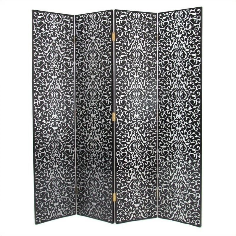 Wayborn Hand Painted Yuenchai Room Divider in Black and Silver