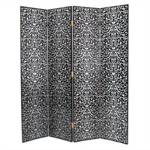 Hand Painted Yuenchai Room Divider in Black and Silver