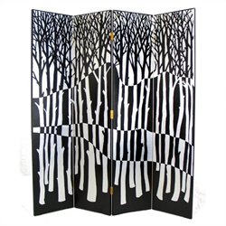Hand Painted Black Forest Room Divider in Black and Silver