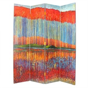 Hand Painted Fall In The Forest Room Divider
