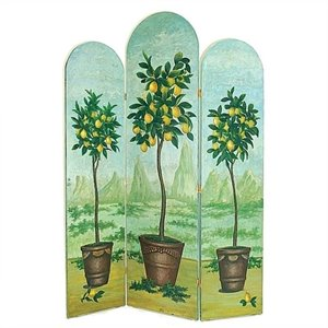 Hand Painted Topiaries Room Divider