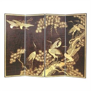 Hand Painted Cranes Wall Room Divider in Black and Gold
