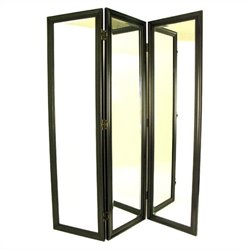 Wayborn Mirror with Frame Full Size Dressing Room Divider in Black