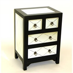 Wayborn Tanner Mirror 4 Drawer Accent Chest in Black