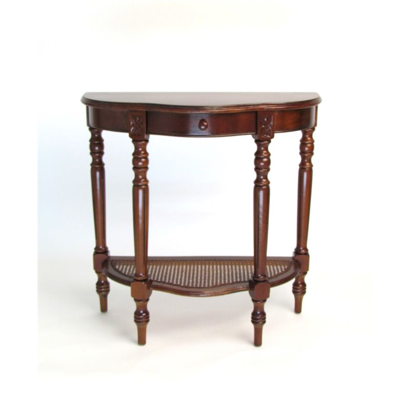 Caned Demi Console Table in Honey Brown