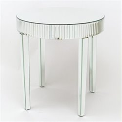 Pine Wood Beveled Mirror Table