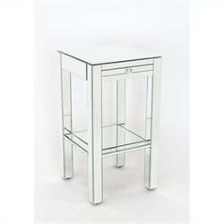 Wayborn Pine Wood Beveled Mirror Side Table