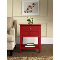 Altra Furniture Franklin 2 Drawer Accent Table in Red