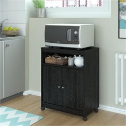Altra Furniture Landry Microwave Cart in Black Ebony Ash