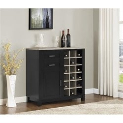 Wine Cabinet in Black Sonoma Oak