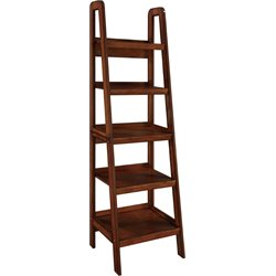 Altra Furniture Platform Ladder 5 Shelf Bookcase in Mahogany