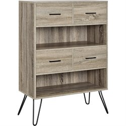 Altra Furniture Landon 2 Shelf Bookcase in Oak and Gunmetal Gray