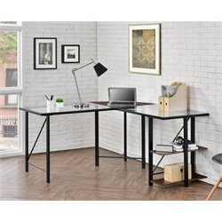 Altra Cruz Glass Top L Desk in Cherrry and Black