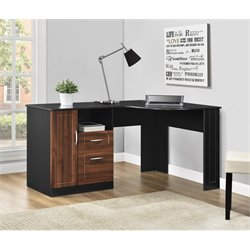 Corner Desk in Cherry and Black