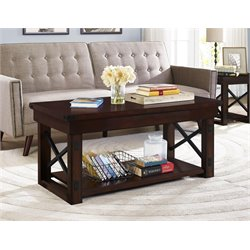 Altra Wildwood Wood Veneer Coffee Table in Mahogany