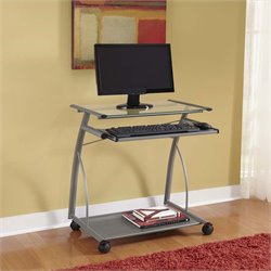 Altra Easy2Go Glass Top Metal Computer Cart in Silver