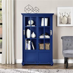 Altra Aaron Lane Bookcase with Sliding Glass Doors in Navy