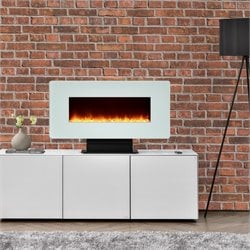 35'' Wall Mounted Electric Fireplace in White