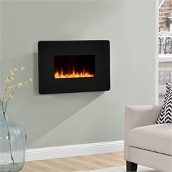 25'' Wall Mounted Electric Fireplace in Black