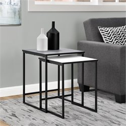 2 Piece Nesting Table Set in Gray and White