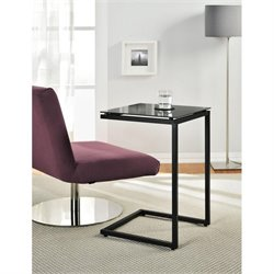 Altra Furniture Crane Glass Top C End Table in Black