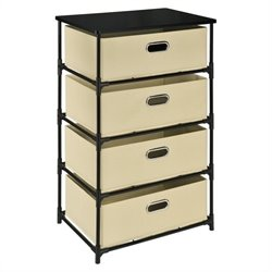 Altra Furniture 4 Bin Storage End Table in Black and Natural