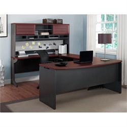 Altra Furniture Pursuit U Shaped Office Set in Cherry and Gray