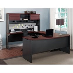 Altra Furniture Pursuit U-Shape Office Set in Cherry and Gray