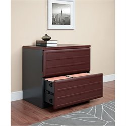 Altra Furniture Pursuit 2 Drawer File Cabinet in Cherry and Gray