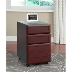 Altra Furniture Pursuit 3 Drawer File Cabinet in Cherry and Gray