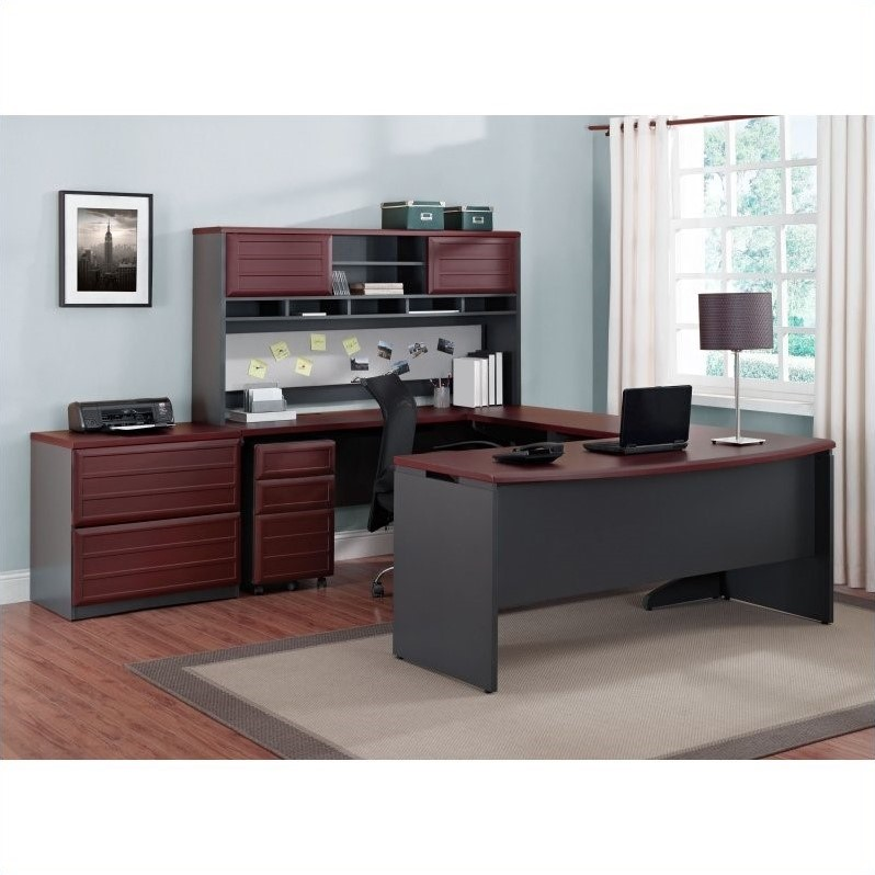 Altra Furniture Pursuit 6 Piece Office Set in Cherry and Gray