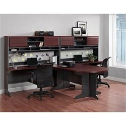 Altra Furniture Pursuit 7 Piece Office Set in Cherry and Gray