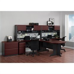 Altra Furniture Pursuit 9 Piece Office Set in Cherry and Gray