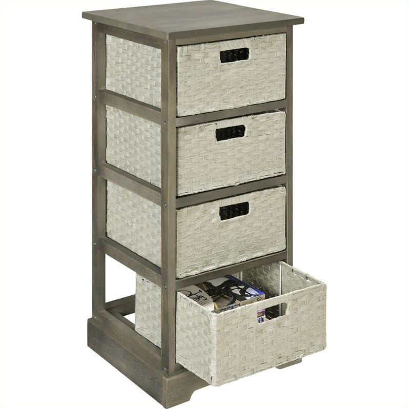 Altra Furniture Storage Unit with 4 Baskets in Gray Finish