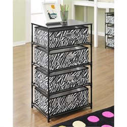 4-Bin Storage End Table in Black and Zebra Print