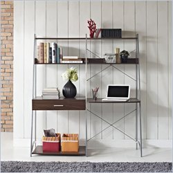 Altra Furniture Ladder Desk with Tower Bookcase in Walnut Finish