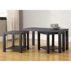 Altra Furniture Holly Bay 3 Piece Coffee and End Table Set in Black