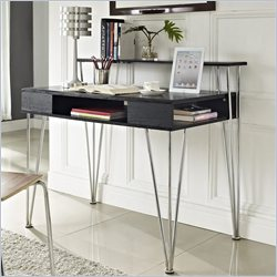 Altra Furniture Rade Computer Desk with Hutch in Black Oak and Silver