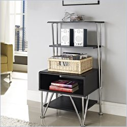 Altra Furniture Rade Entertainment Media Stand in Black Oak and Silver