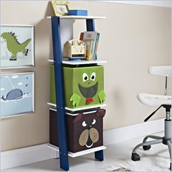 Altra Furniture Luci Ladder Bookcase with 2 Bins in White and Blue