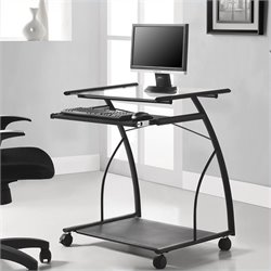Altra Furniture Mobile Computer Cart and Desk in Black Finish